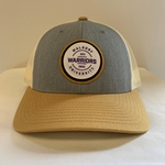 Gray and Cream Snapback Trucker Hat with Amber Accents